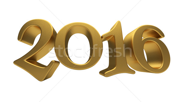 Gold 2016 lettering isolated Stock photo © Supertrooper