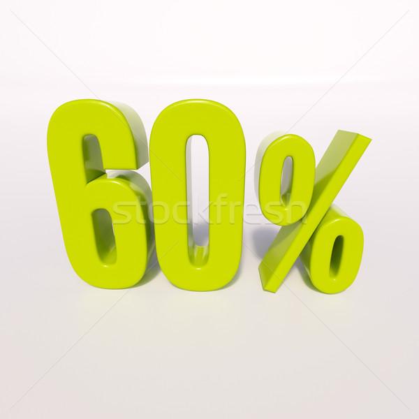 Százalék felirat 60 százalék 3d render zöld Stock fotó © Supertrooper