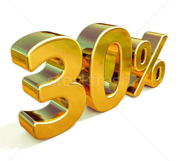 Stok fotoğraf: 3D · altın · 30 · yüzde · indirim · imzalamak