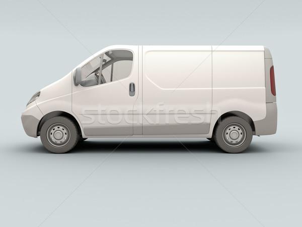 Fehér kereskedelmi furgon szürke árnyék üzlet Stock fotó © Supertrooper