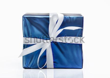 Caixa azul caixa de presente fita moda supermercado Foto stock © Supertrooper