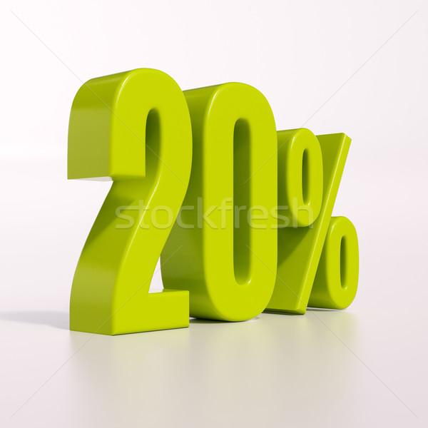 Pourcentage signe 20 pour cent rendu 3d vert Photo stock © Supertrooper