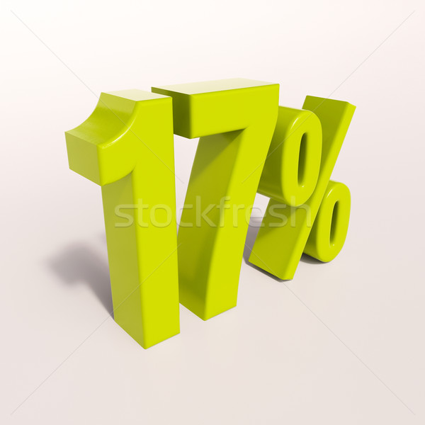 Percentagem assinar 17 por cento 3d render verde Foto stock © Supertrooper