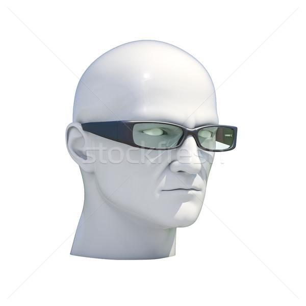 Stockfoto: Etalagepop · hoofd · geïsoleerd · plastic · man · witte