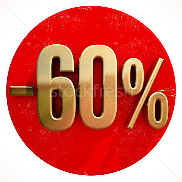 Gold 60 Percent Sign on Red Stock photo © Supertrooper