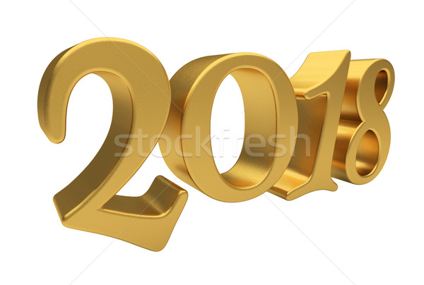 Gold 2018 lettering isolated Stock photo © Supertrooper