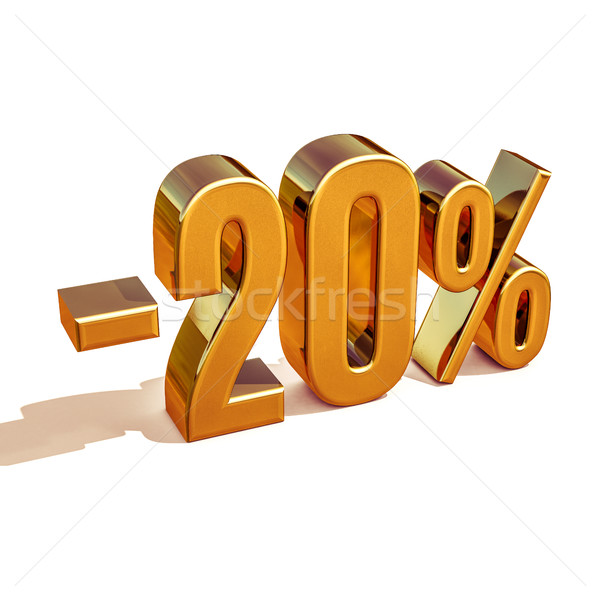 3d Gold 20 Twenty Percent Discount Sign Stock photo © Supertrooper