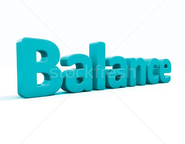 Foto stock: 3D · palavra · saldo · ícone · branco · ilustração · 3d