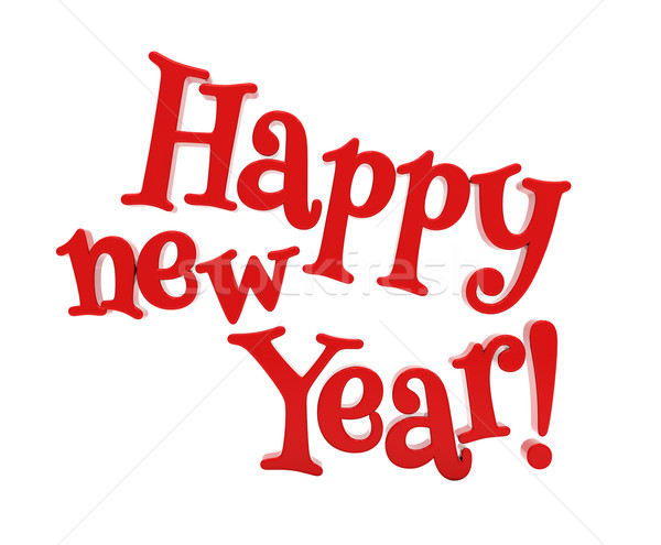 Stock photo: Happy new year lettering isolated