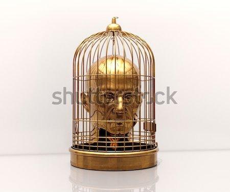 Hart gouden kooi binnenkant liefde Stockfoto © Supertrooper
