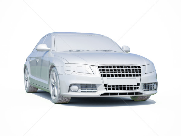 3D auto witte sjabloon 3d render icon Stockfoto © Supertrooper