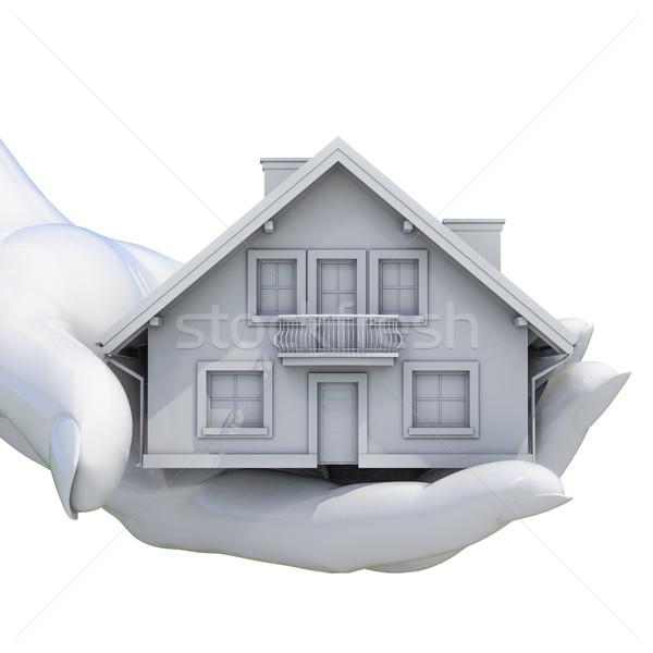 Kezek tart modell ház izolált közelkép Stock fotó © Supertrooper