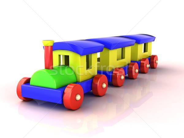 Brinquedo trem branco luz sombra reflexão Foto stock © Supertrooper