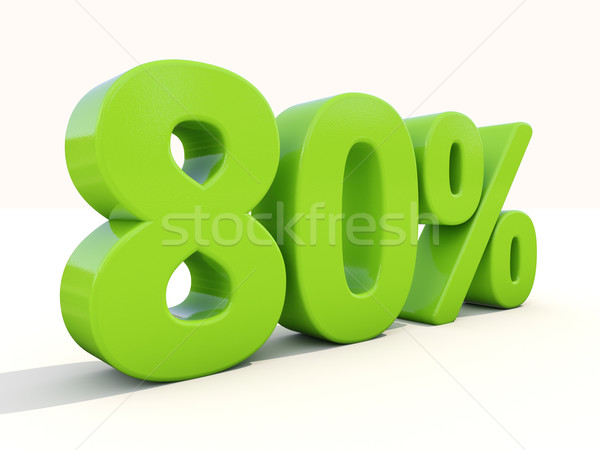 Stock photo: 80% percentage rate icon on a white background