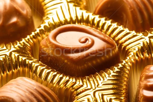 Closeup Of Variety Chocolate Pralines, Close Up Shot Of Chocolates Box, Assorted Box Chocolate, Box  Stock photo © Supertrooper