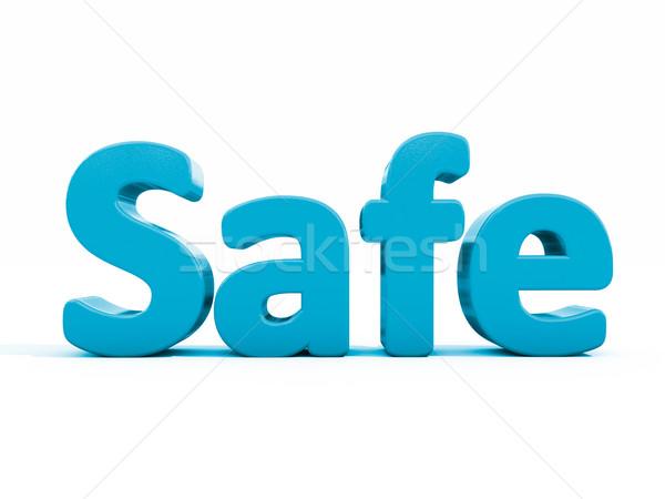 3D слово безопасной икона белый 3d иллюстрации Сток-фото © Supertrooper