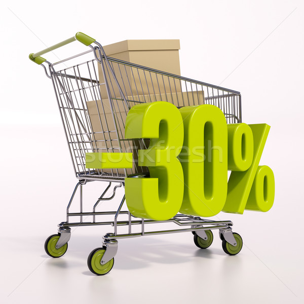 Shopping cart and percentage sign, 30 percent Stock photo © Supertrooper