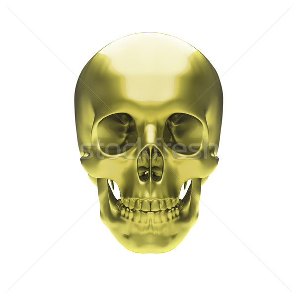 Gold metallic skull Stock photo © Supertrooper