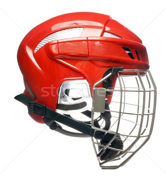 ホッケー ヘルメット 孤立した 赤 ケージ 白 ストックフォト © Supertrooper