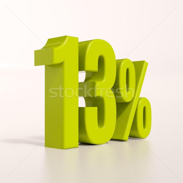 Percentage procent 3d render groene 13 korting Stockfoto © Supertrooper