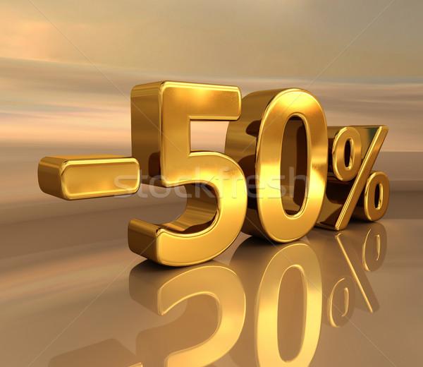 3D altın 50 eksi elli yüzde Stok fotoğraf © Supertrooper