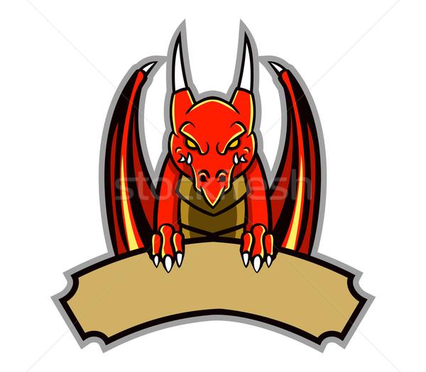 Dragão distintivo assinar vermelho desenho animado Foto stock © superzizie