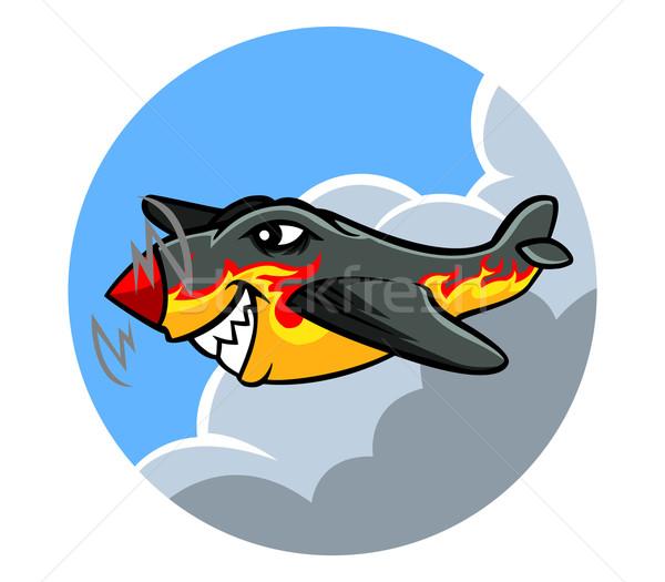Vliegtuig vlam schilderij oude Stockfoto © superzizie