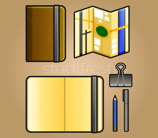 Portrait Sketchbook and Map Iconpack Stock photo © superzizie