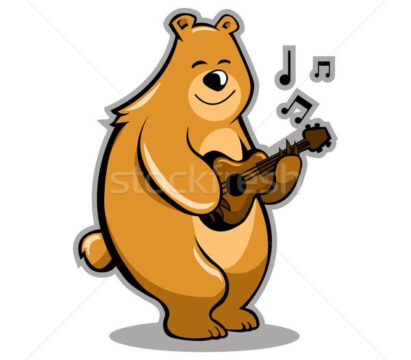 Beer muzikant bruine beer spelen gitaar Stockfoto © superzizie
