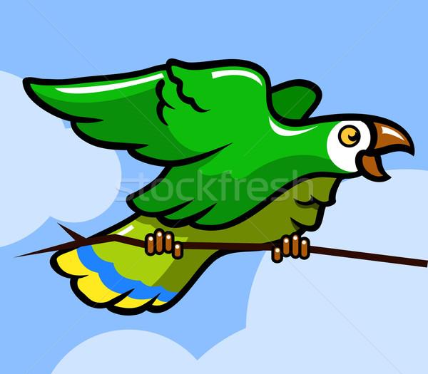 Groene vogel papegaai tak eps vector Stockfoto © superzizie
