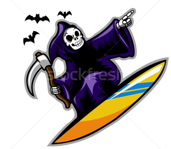 Düster Surfer surfen dunkel skate Surfen Stock foto © superzizie