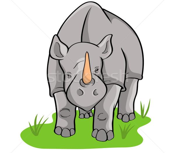 Rinoceronte grama verde Foto stock © superzizie