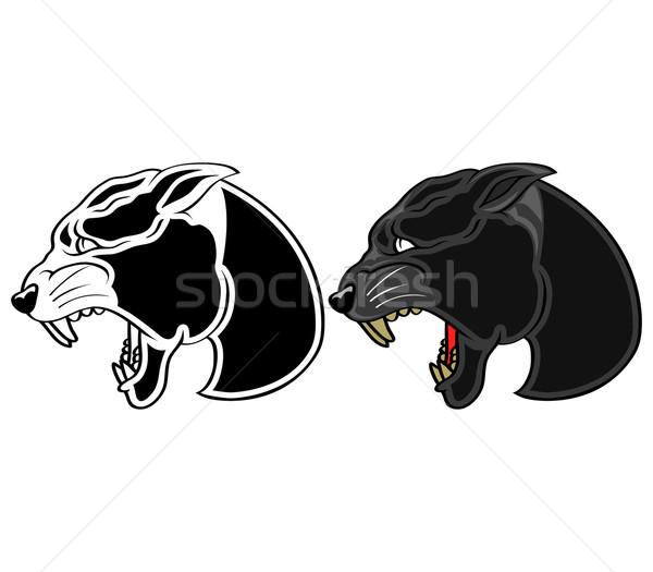 Panther голову иллюстрация черный икона команда Сток-фото © superzizie
