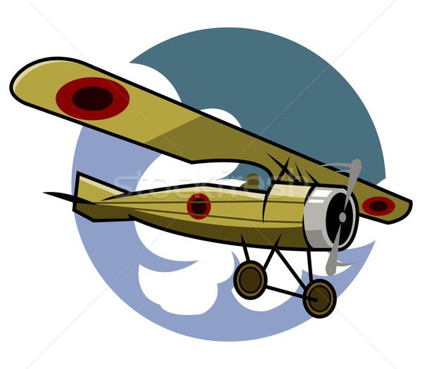 Klassiek vliegtuig kleur lucht geschiedenis schroef Stockfoto © superzizie