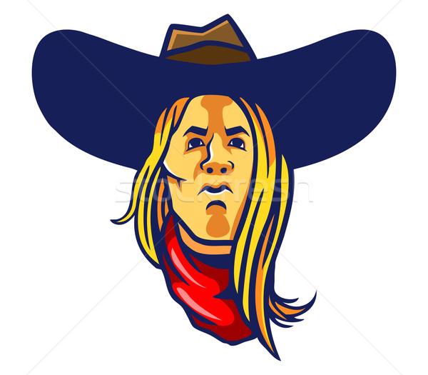 Lang haar cowboy haren sjaal Stockfoto © superzizie