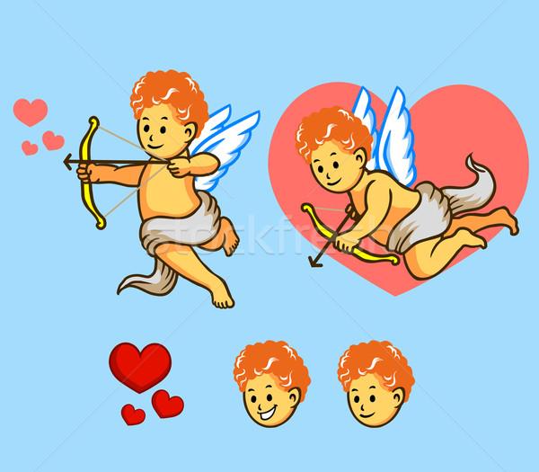 Vliegen ingesteld bruiloft liefde engel Rood Stockfoto © superzizie