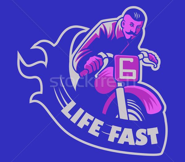 Leven snel man paardrijden motorfiets Stockfoto © superzizie