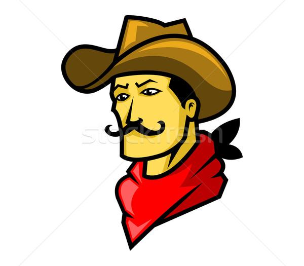 Cowboy hoofd gezicht mannen hoed oor Stockfoto © superzizie