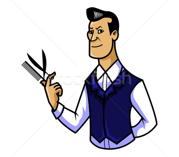Barbier baan cartoon permanente volwassen vrolijk Stockfoto © superzizie