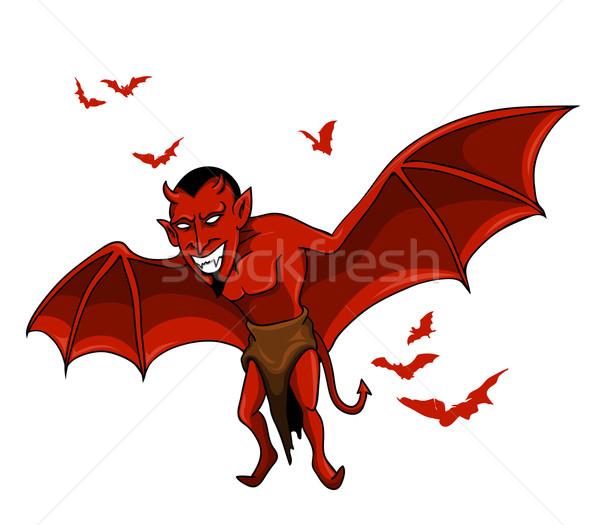Duivel bat vliegen Rood leuk dier Stockfoto © superzizie