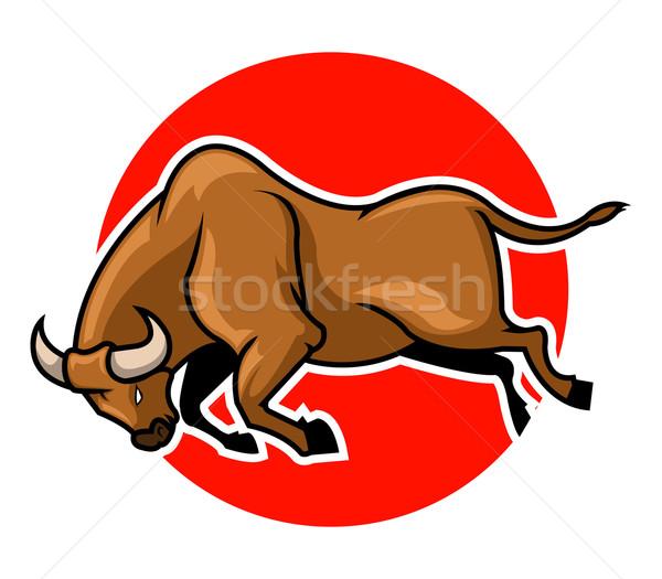 Zwart en wit stier woede eenvoud conflict agressie Stockfoto © superzizie
