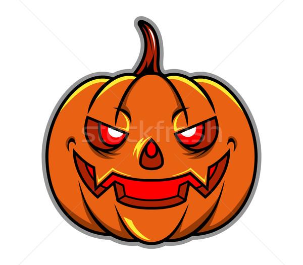 Pompoen hoofd halloween glimlachend Stockfoto © superzizie