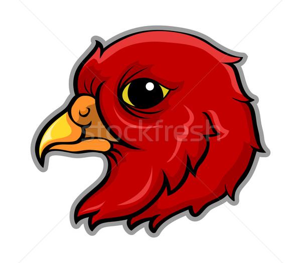 Vogel hoofd illustratie Rood kunst dier Stockfoto © superzizie