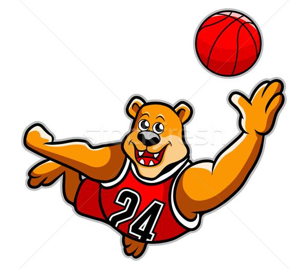 Basketbal beer spelen gezicht sport team Stockfoto © superzizie