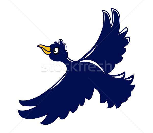 Voador corvo céu floresta natureza pássaro Foto stock © superzizie