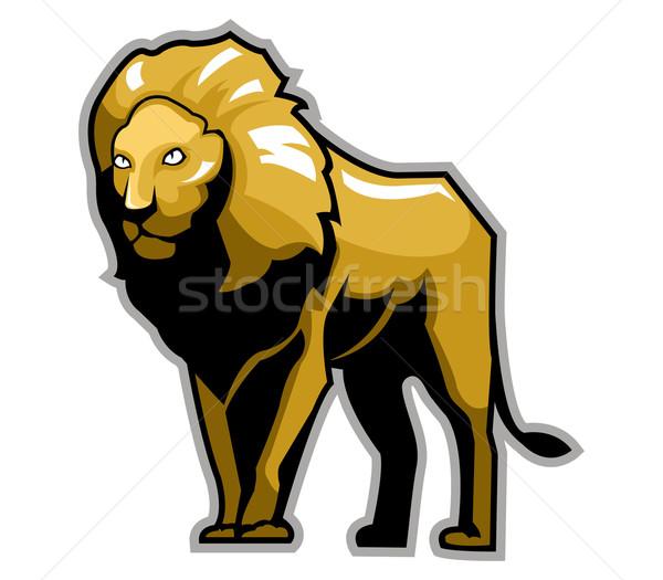 Leeuw koning permanente groot bruin Stockfoto © superzizie