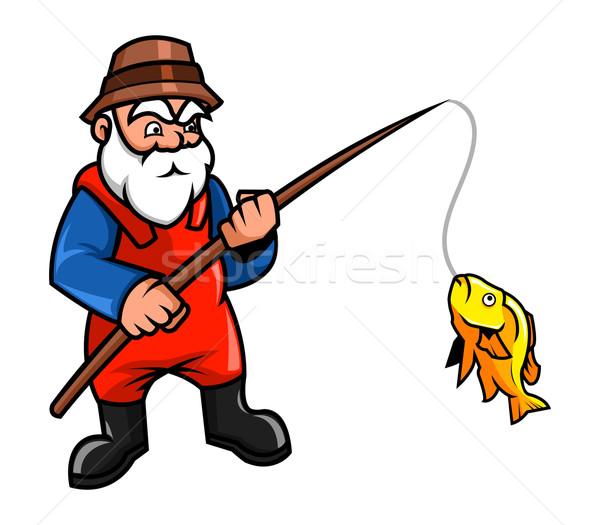 Oude visser mannen vissen cartoon mannelijke Stockfoto © superzizie