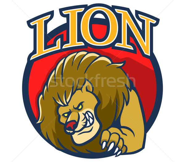 Leeuw mascotte cartoon stand illustratie Stockfoto © superzizie