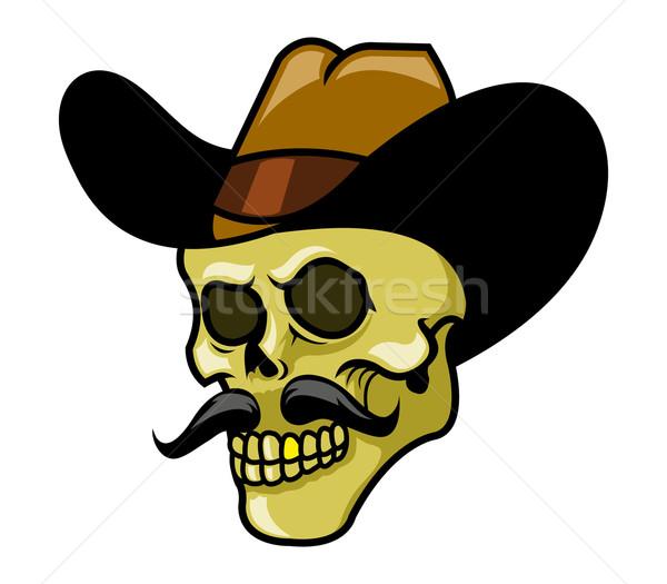 Gouden tanden schedel cowboy Stockfoto © superzizie