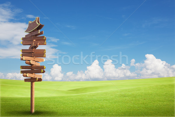 Wooden sign on the green field with blue sky Stock photo © Suriyaphoto